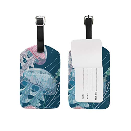 Pink and Blue Sea Jelly Luggage Tag Travel ID Label Leather for Baggage Suitcase 1 Piece