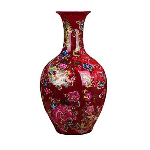 HLL Jarrón Grave Cerámica Moderna China Rose Red Dragon Y Phoenix Chengxiang Gran Moda Nueva Decoración Del Hogar para Flores