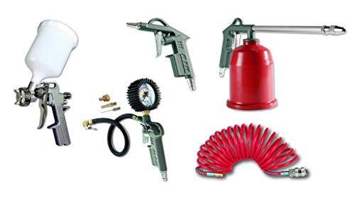 Schneider Druckluft GmbH DGKD100040 Schneider airsystems Zubehör für Kompressor DL-WZ-Set 5-teilig (Farb-, Ausblas-, Sprühpistole, Reifenfüllmessgerät, Schlauch)