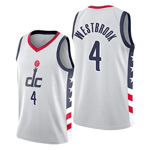 Dybory Camiseta De Baloncesto para Hombre, Washington Wizards # 4 Camiseta De Entrenamiento Russell Westbrook 2020/21 Camiseta Sin Mangas Superior Swingman Jersey City Edition,Blanco,XL