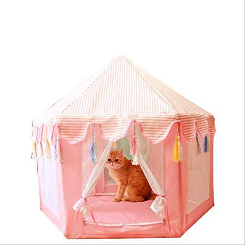 Tienda para mascotas hexagonal Tipi Mongolia House Cama para perros Kennel House Kitten Cat Nest Tienda de malla Desmontable 85x75cm con tapete