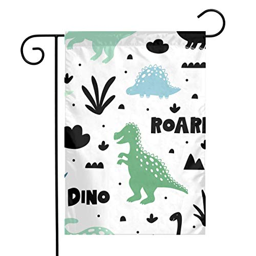 NA Patrón con Dinosaurios en Blanco Backgrond Inicio Vertical a una Cara 12 x 18 Pulgadas