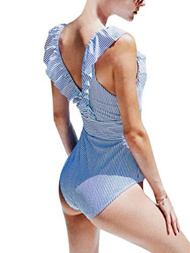 OranDesigne Damen Badeanzug Neckholder V-Ausschnitt Rückenfrei Einteiliger Bademode Sexy Gestreifter Bikini Badeanzug mit RüschenBlau DE 44