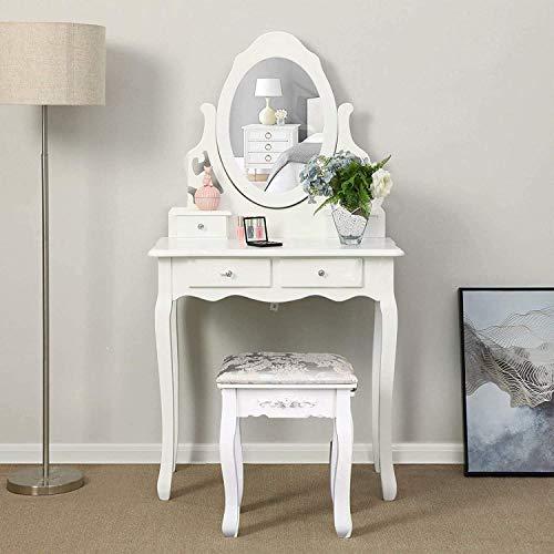 Iglobalbuy Tocador, Escritorio de Maquillaje con Taburete, Mesa de Cosmética Blanca con Espejo para el Dormitorio