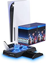 Vertical Stand with Cooling Fan for PS5 Console and PS5 Digital Edition, YUANHOT Charging Station Dock with Dual Controller Charger Ports and Retractable Game Storage for PS5 and DualSense - Black