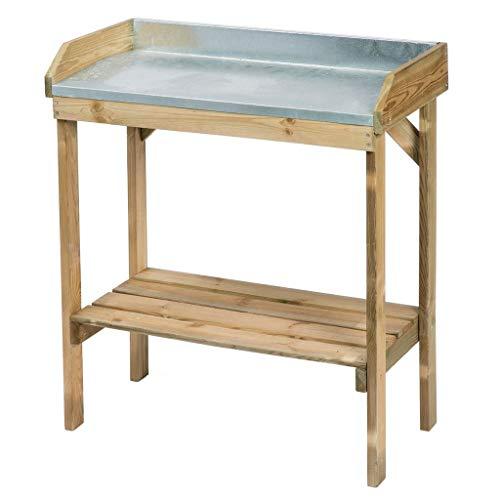 N / A vidaXL Pflanztisch, Holz Planztisch mit verzinkter Arbeitsplatte Und EIN Regal, Nature Tisch, zum Aussähen und Pflanzen, 97 x 85 x 42 cm