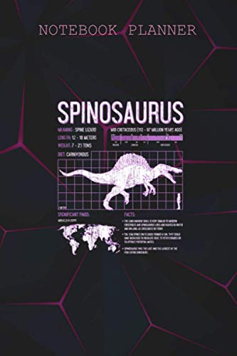 Notebook Planner Paleontologist Spinosaurus Dinosaur Facts Kids Science: Daily Journal, Book, Simple, College, 6x9 inch, To Do, Meeting, Over 100 Pages