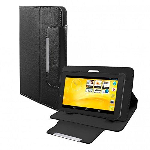 eFabrik Kunstleder Schutz Tasche für TrekStor SurfTab xiron 7.0 3G Hülle Schutzhülle Hülle Cover Schutztasche Stand-Funktion hochwertige Leder-Optik schwarz