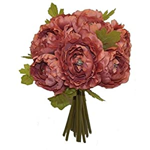 Mauve Ranunculus Bridal Bouquet Wedding Centerpiece Party Decor Silk Flowers Artificial OSW01