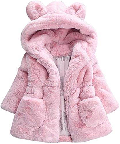 Uni-Wert Mädchen Fellmantel Winterjacke Kunstpelz Jacke Baby Mädchen Herbst Winter Mantel Warm Jacke mit Kapuze Wollmantel Kapuzenjacke