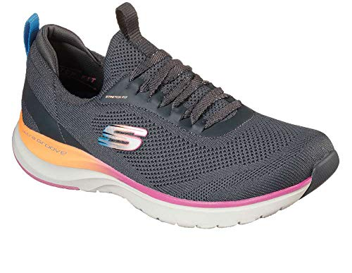 Skechers Womens Ultra Groove - Oh So Light Sneaker, Charcoal, Size 11