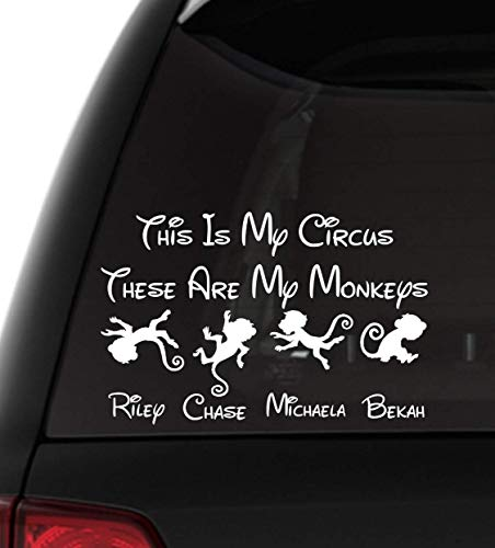 This Is My Circus These Are My Monkeys Family Vinyl Decal Personalized Option