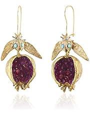 S-TROUBLE Vintage Fruit Red Pomegranate Crystal Drop Earrings Gemstone Pomegranate Dangle Hook Earrings for Women Fashion Jewelry
