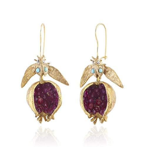 Viesky Pendientes de gota de cristal rojo granada vintage para mujer, joyería de moda