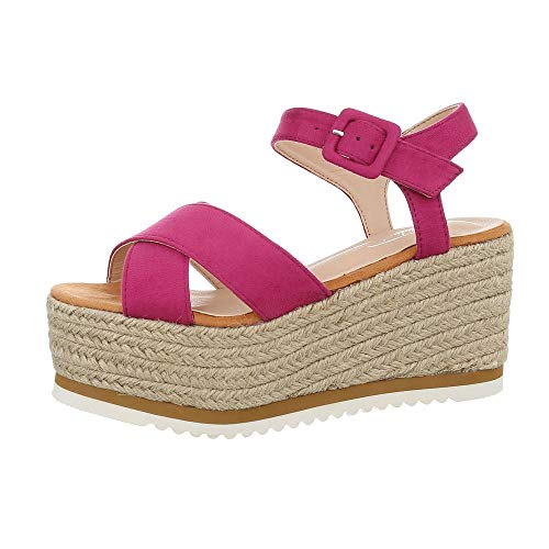 Ital-Design Damenschuhe Sandalen & Sandaletten Keilsandaletten Synthetik Pink Gr. 38
