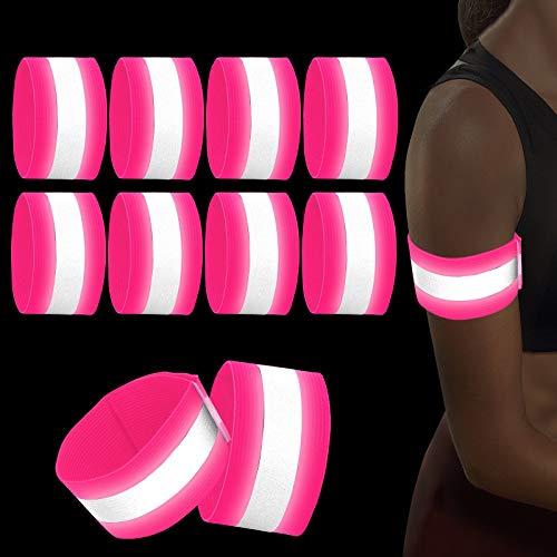 Sinwind 8er Set Reflektorband Reflektierendes Armband, Reflektorband Reflektierendes Sicherheitsband Reflektor Elastisches Armband Sicherheit für Outdoor Sports Fahrrad Jogging Laufen (Pink)