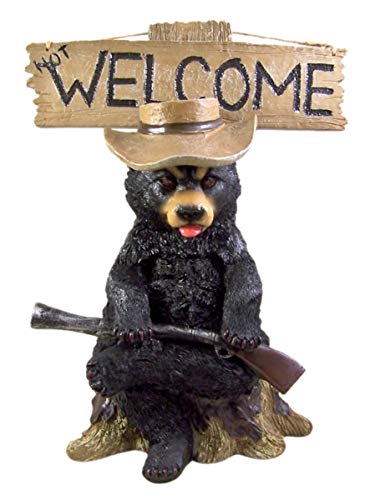 Wowser - Señal con Texto en inglés Grouchy Black Bear Funny Reversible Not Welcome and Go Away, 40,6 cm