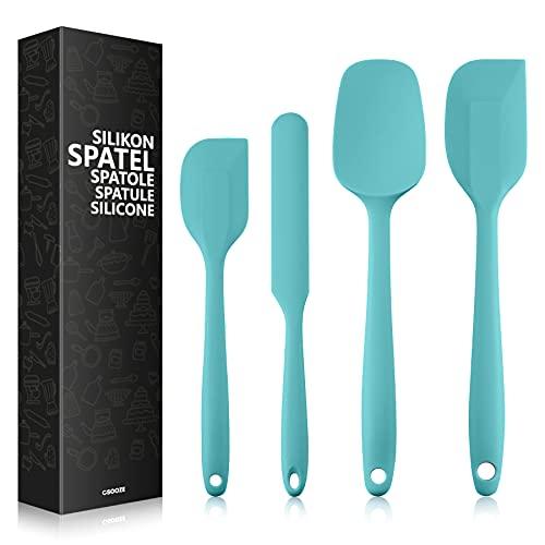 Csooze Silikon Spatel Teigschaber - 4 Stück Spatula Hitzebeständig BPA-Frei mit Metallkern für Kochen und Backen | Türkis