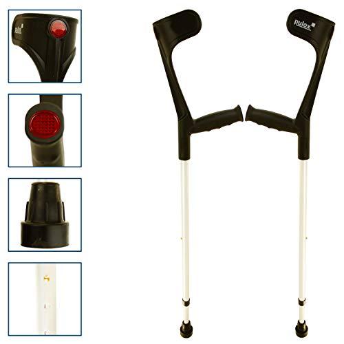 Krücken Paar Klassiker 140 Kg Unterarmgehstützen von Ossenberg mit Ergo Softgriff Gehhilfen Pulox-Design (Schwarz)