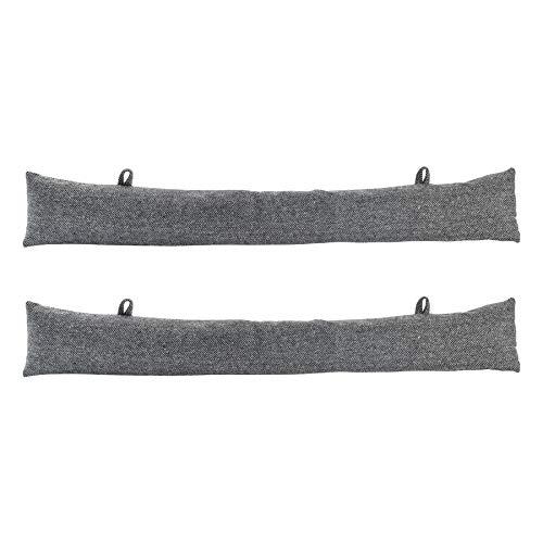 Nicola Spring Door Draught Excluders - Grey Herringbone Pattern - Pack of 2
