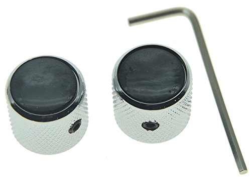 KAISH Set of 2 Black Pearl Top Guitar Dome Knobs with Set Screw for Tele Guitars Black Pearl Cap Bass Chrome Knobs