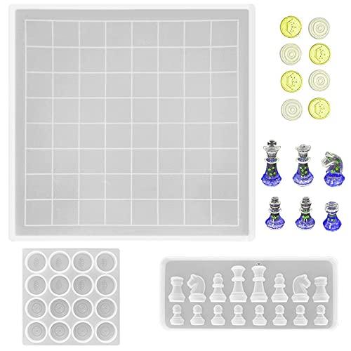 AIFUDA Juego de moldes de resina para tablero de damas, 1 molde de silicona, 1 pieza de damas y 1 pieza de ajedrez piezas de molde de fundición para proyectos de herramientas de bricolaje