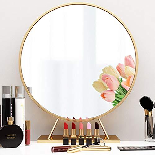 Espejo Redondo Dorado, con Base Espejos de círculo Grande para decoración de tocadores Espejo con Marco de Metal Espejo de vanidad Moderno para Sala de Estar Baño Dormitorio 30-60cm