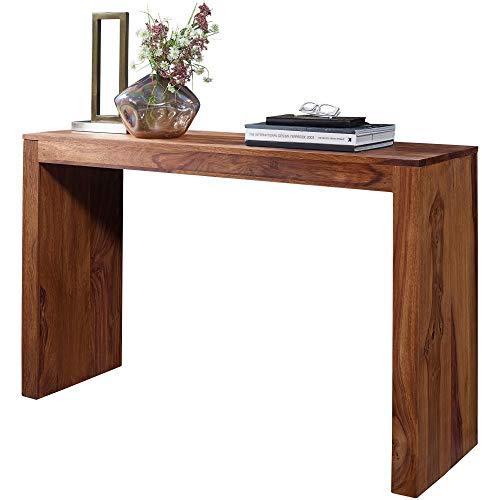 FineBuy Konsolentisch Sheesham Massivholz Design Konsole Schreibtisch 115 x 40 cm Landhaus-Stil Arbeitstisch Naturholz modern