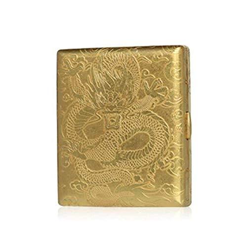 ALHJ Caja De Cigarrillos,Cobre Vintage Pitilleras, Caja De Tabaco Puede Contener 20 Cigarrillos,Patrón De Grabado Creativo,Regalo Comercial Ideal, Dorado