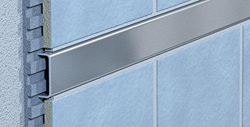 Azulejos de perfil - azulejos del carril - de acero inoxidable del carril - azulejos de cenefa - 100 cm de largo - ancho de 10 mm - de acero inoxidable cepillado (B-15)
