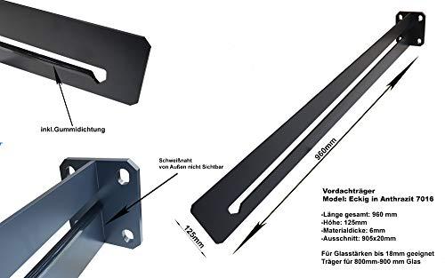Vordach Vordachträger Vordachhalter Model Eckig (1 Stück) Träger Anthrazit RAL 7016