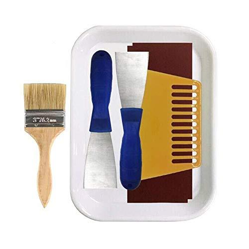 Yongenee Escobilla de Goma Espátula lotes Cuchillo de Metal Espátula Espátula de Limpieza Papel de Lijado Scrub Brush Tool Set, Antideslizante (Color: A) Herramientas industriales