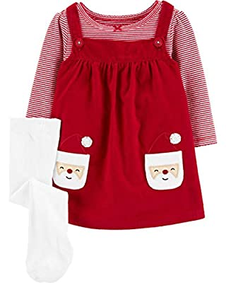 Carter's 3-Piece Holiday Red Striped Bodysuit & Santa Jumper Set with Tights (Red/White, 12 Months)