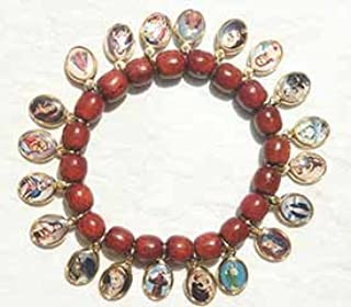 Saints Medals Red Wood Bracelet