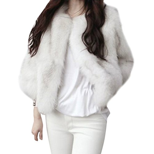 Donna Giacca Eleganti in Faux Fur Pelliccia Ecologica Cappotto Invernale Elegante Giacca Corto A Maniche Lunghe Bianco M