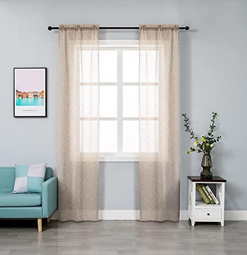 GIRASOLE Par de cortinas de gasa, semitransparentes, efecto lino, para salón, dormitorio, balcón, ventana e interior, 2 paneles con bolsillo (maggés, 70 x 240 cm)