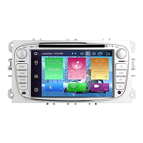 Autoradio Android Stereo, per Ford Focus 2 S-Max C-Max Mondeo 4 Galaxy Kuga 2008-2010 Android 9.0 Octa Core 4G RAM 64G ROM 7 pollici Schermo capacitivo HD multi-touch GPS stereo automatico (argento)