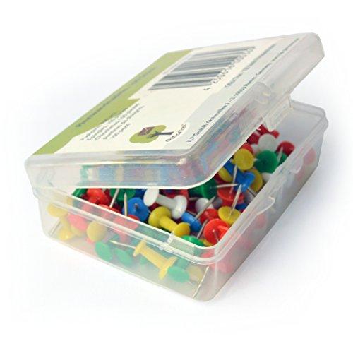 OfficeTree ® Pinnwandnadeln - 100 Stück 5 Farben - Pinn-Nadeln Pushpins Kartennadel - nie mehr Zettelchaos - zur sicheren Befestigung an Kork Karten Filz Styropor - in praktischer Aufbewahrungsbox