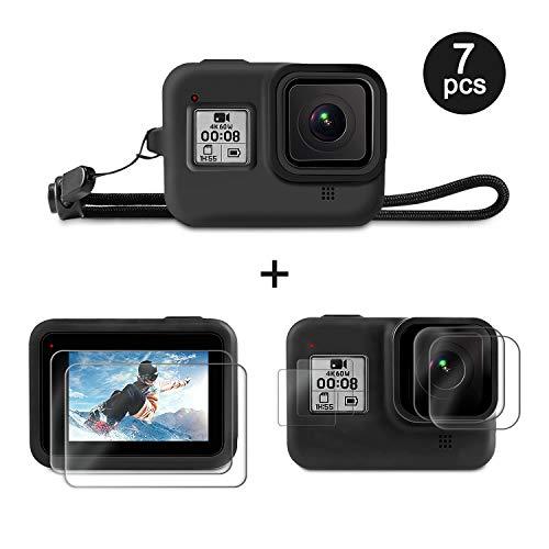 Deyard Accessoireset voor GoPro Hero 8 met Siliconen Rubber Beschermhoes + 4 stuks Ultraheldere Gehard Glazen Schermbeschermer + 2 stuks Display HD Lensbeschermer met GoPro Hero 8 Zwart