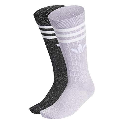 adidas Calcetines redondos Full Glitter Crew Socks, 2 unidades morado/negro. S