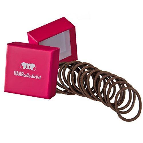 HAARallerliebst Haargummis dick (20 Stück | braun | 4,5mm) inkl. Schachtel zur Aufbewahrung (Schachtelfarbe: pink)