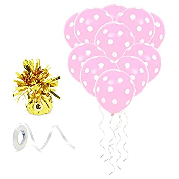 Pink Polka Dot Balloons for Birthday Party with Gold Weight String  50 Pack