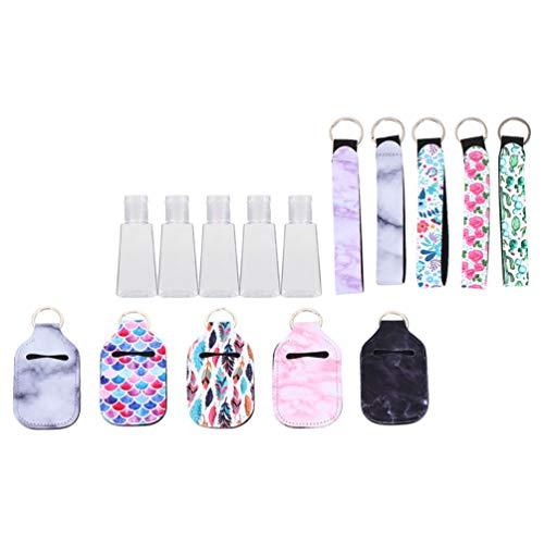 HEALLILY Juego de 5 Botellas de Llavero de Viaje con Tapa de Envases Vacíos con Tapa Abatible Pequeños Contenedores de Maquillaje Recargables Regalo para Los Favores de La Fiesta Color