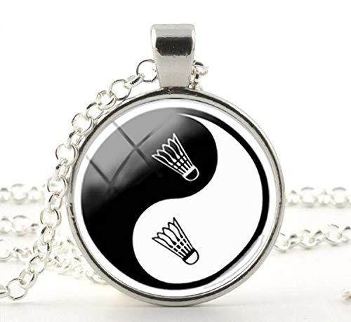 Yin Yang Badminton-Halskette, Geschenk für Freunde, Vintage-Kunst, Foto-Schmuck, handgefertigter Schmuck
