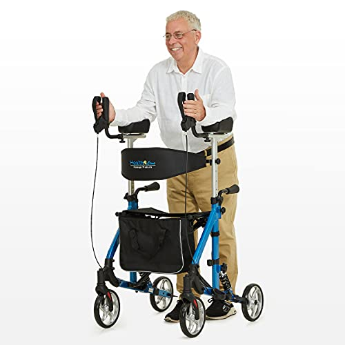 Rollator Walker with Armrest for Seniors by Health Line Massage Products, Shock Absorber Included Rollator Walker with Seat and Large Wheels, Tall Rolling Mobility Aid for Indoor and Outdoor (Blue)