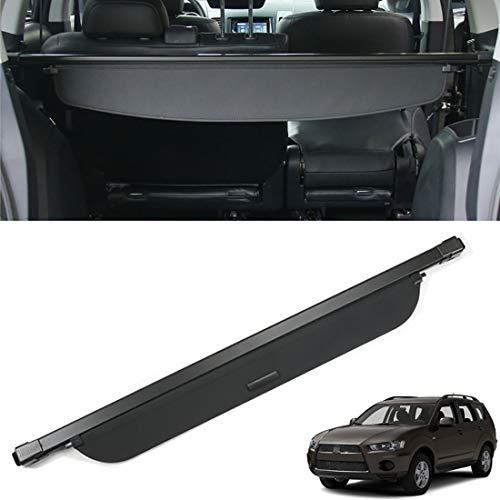CMHZJ Auto Kofferraumschutz Abdeckung Shielding Security Panel Rollo Für Mitsubishi Outlander 2007-2012, Schwarz Einziehbarer Hinterer Kofferraum Aufbewahrung Paketregal, Autozubehör