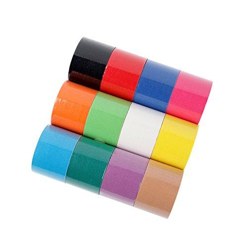 FITOP Bande de Kinésiologie 12 rouleaux Sport Tape en couleurs arc-en-ciel mélangées