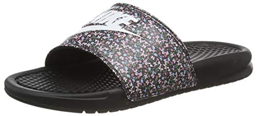 Nike Damen Benassi JDI Print Slide Sandal, Black/White-Light Arctic Pink-Baltic Blue-Firewood Orange-Cucumber Calm, 36.5 EU