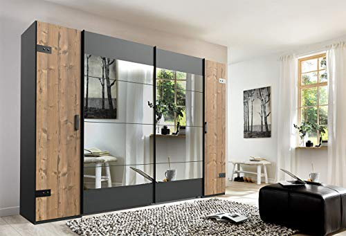 lifestyle4living Kleiderschrank in Silber-Tanne, 2 Spiegel, 270 cm, 2 Kleiderstangen, 10 Einlegeböden | Hochwertiger Industriedesign Kombi Schwebetürenschrank
