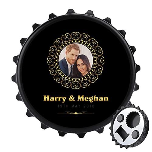 Marco dorado Harry y Meghan Royal Abrebotellas de boda, imán trasero para...